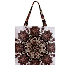Mandala Pattern Round Brown Floral Zipper Grocery Tote Bag