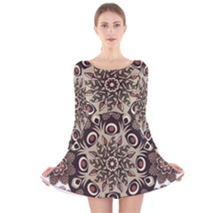 Mandala Pattern Round Brown Floral Long Sleeve Velvet Skater Dress