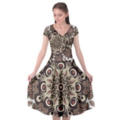 Mandala Pattern Round Brown Floral Cap Sleeve Wrap Front Dress