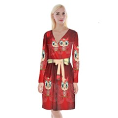 Cute Colorful  Owl, Mandala Design Long Sleeve Velvet Front Wrap Dress by FantasyWorld7