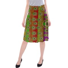 Rainbow Flowers In Heavy Metal And Paradise Namaste Style Midi Beach Skirt by pepitasart