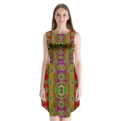 Rainbow Flowers In Heavy Metal And Paradise Namaste Style Sleeveless Chiffon Dress   by pepitasart