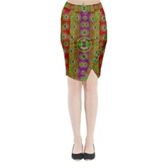 Rainbow Flowers In Heavy Metal And Paradise Namaste Style Midi Wrap Pencil Skirt by pepitasart