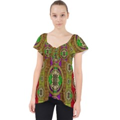 Rainbow Flowers In Heavy Metal And Paradise Namaste Style Dolly Top