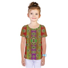 Rainbow Flowers In Heavy Metal And Paradise Namaste Style Kids  One Piece Tee by pepitasart