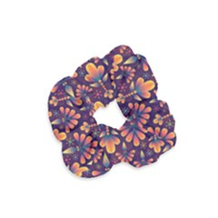 Floral Abstract Purple Pattern Velvet Scrunchie by paulaoliveiradesign