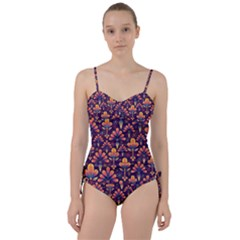 Floral Abstract Purple Pattern Sweetheart Tankini Set by paulaoliveiradesign