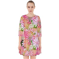 Pink Flowers Floral Pattern Smock Dress