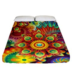 Colorful Abstract Pattern Kaleidoscope Fitted Sheet (california King Size) by paulaoliveiradesign