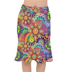 Colorful Abstract Pattern Kaleidoscope Mermaid Skirt by paulaoliveiradesign
