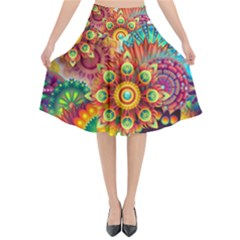 Colorful Abstract Pattern Kaleidoscope Flared Midi Skirt by paulaoliveiradesign