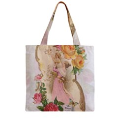 Vintage Floral Illustration Zipper Grocery Tote Bag by paulaoliveiradesign