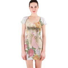 Vintage Floral Illustration Short Sleeve Bodycon Dress by paulaoliveiradesign