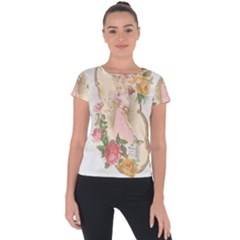 Vintage Floral Illustration Short Sleeve Sports Top  by paulaoliveiradesign