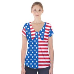 Usa Flag Short Sleeve Front Detail Top by stockimagefolio1