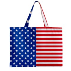 Usa Flag Zipper Medium Tote Bag by stockimagefolio1