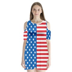 Usa Flag Shoulder Cutout Velvet  One Piece by stockimagefolio1