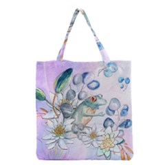 Funny, Cute Frog With Waterlily And Leaves Grocery Tote Bag by FantasyWorld7