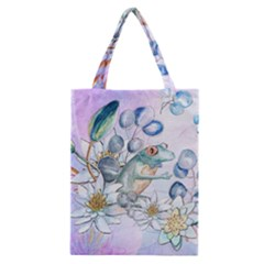 Funny, Cute Frog With Waterlily And Leaves Classic Tote Bag by FantasyWorld7