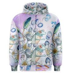 Funny, Cute Frog With Waterlily And Leaves Men s Zipper Hoodie by FantasyWorld7