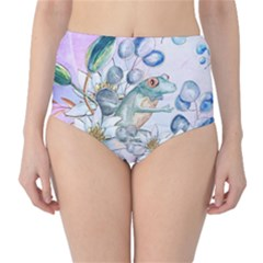 Funny, Cute Frog With Waterlily And Leaves High Waist Bikini Bottoms by FantasyWorld7