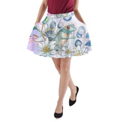 Funny, Cute Frog With Waterlily And Leaves A Line Pocket Skirt by FantasyWorld7