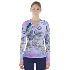 Funny, Cute Frog With Waterlily And Leaves V Neck Long Sleeve Top