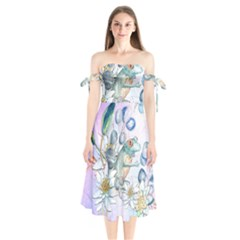 Funny, Cute Frog With Waterlily And Leaves Shoulder Tie Bardot Midi Dress by FantasyWorld7
