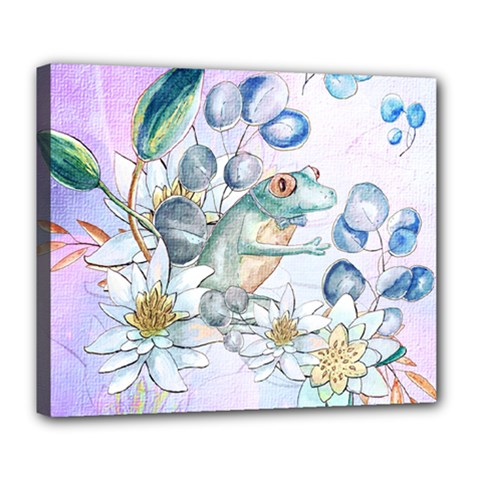 Funny, Cute Frog With Waterlily And Leaves Deluxe Canvas 24  X 20   by FantasyWorld7