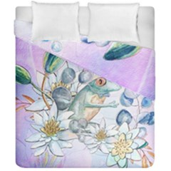 Funny, Cute Frog With Waterlily And Leaves Duvet Cover Double Side (california King Size) by FantasyWorld7