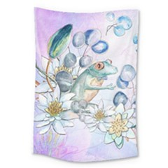 Funny, Cute Frog With Waterlily And Leaves Large Tapestry by FantasyWorld7
