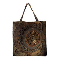 Steampunk, Awesoeme Clock, Rusty Metal Grocery Tote Bag by FantasyWorld7
