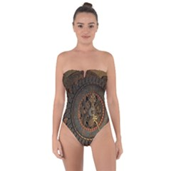 Steampunk, Awesoeme Clock, Rusty Metal Tie Back One Piece Swimsuit