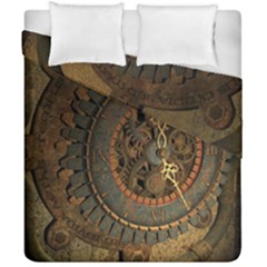 Steampunk, Awesoeme Clock, Rusty Metal Duvet Cover Double Side (california King Size) by FantasyWorld7