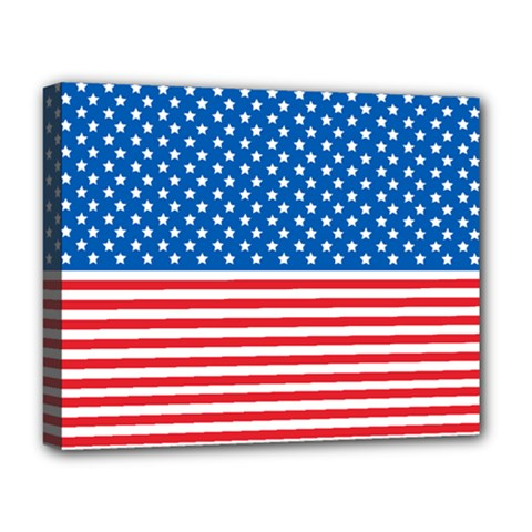 Usa Flag Deluxe Canvas 20  X 16   by stockimagefolio1