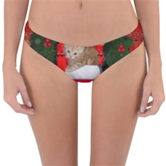 Christmas, Funny Kitten With Gifts Reversible Hipster Bikini Bottoms by FantasyWorld7