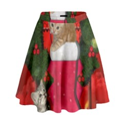 Christmas, Funny Kitten With Gifts High Waist Skirt by FantasyWorld7