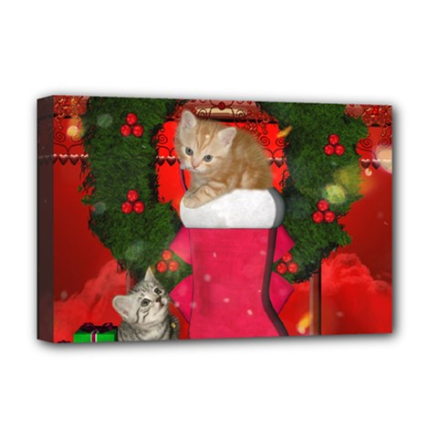 Christmas, Funny Kitten With Gifts Deluxe Canvas 18  X 12   by FantasyWorld7