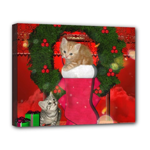 Christmas, Funny Kitten With Gifts Deluxe Canvas 20  X 16   by FantasyWorld7