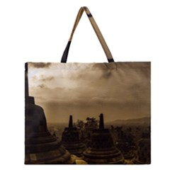 Borobudur Temple Indonesia Zipper Large Tote Bag by Nexatart