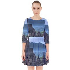Borobudur Temple  Morning Serenade Smock Dress