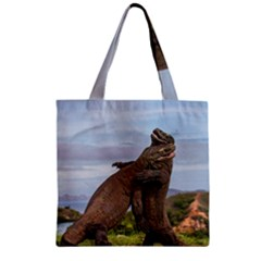 Komodo Dragons Fight Zipper Grocery Tote Bag by Nexatart