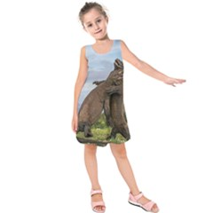 Komodo Dragons Fight Kids  Sleeveless Dress by Nexatart