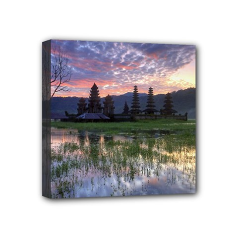 Tamblingan Morning Reflection Tamblingan Lake Bali  Indonesia Mini Canvas 4  X 4