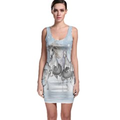 Awesome Running Horses In The Snow Bodycon Dress by FantasyWorld7