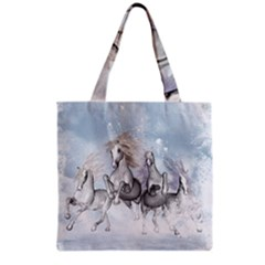 Awesome Running Horses In The Snow Grocery Tote Bag by FantasyWorld7