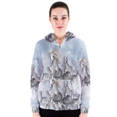 Awesome Running Horses In The Snow Women s Zipper Hoodie by FantasyWorld7