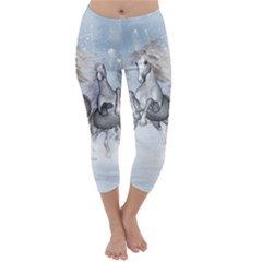 Awesome Running Horses In The Snow Capri Winter Leggings  by FantasyWorld7