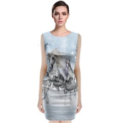 Awesome Running Horses In The Snow Sleeveless Velvet Midi Dress by FantasyWorld7