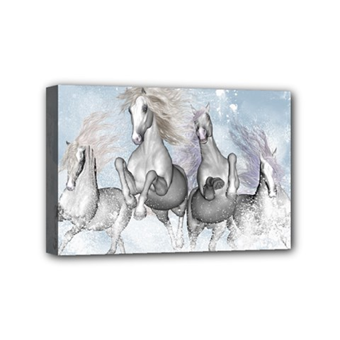 Awesome Running Horses In The Snow Mini Canvas 6  X 4  by FantasyWorld7